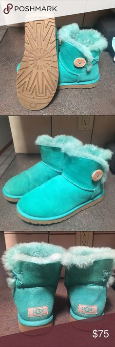 Mint Green Mini Bailey Button Uggs Mini Bailey Button Uggs, great condition, only worn a few times, didn't use as often as I thought I would. Also available on ♏️. UGG Shoes Winter & Rain Boots