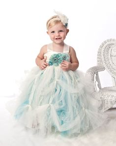 Tutu Dress, Baby tutu dress. Victorian Chic aqua cream ballroom tutu gown. On Sale. $154.95, via Etsy.