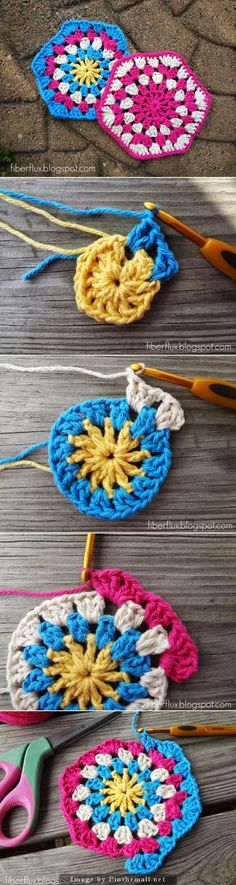 """#Crochet_Tutorial - How to Crochet a Hexagon. The link to fiberflux blog will take you to very clear instructions and many photos."""" Enjoy your crochet from #KnittingGuru"""