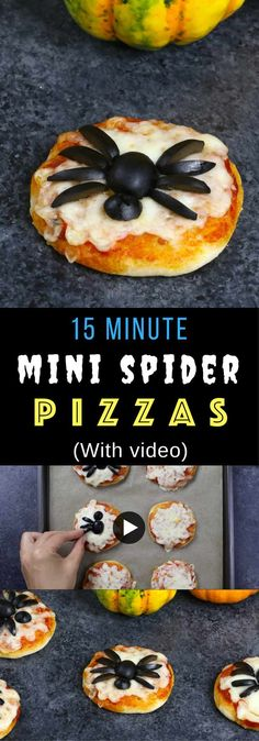 4 Ingredient Mini Spider Pizzas – the easiest and amazing Halloween recipe that takes less than 15 minutes to make. Great fun to make with kids. All you need is only 4 ingredients -pizza dough, shredded mozzarella, marinara sauce and black olives. So cool! Fun and spooky Halloween recipe. Video recipe. | Tipbuzz.com