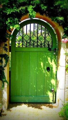 I think I need a green gate.that maybe leads into a secret garden. But definitely the green gate. Cool Doors, The Doors, Unique Doors, Front Doors, Colorful Garden, Green Garden, Shade Garden, Colorful Roses, Garden Doors