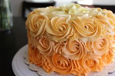 yellow ombre rose cake with link to how too's