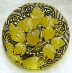 Czech Glass Button  Trans Yellow Glass Nouveau by ButtonOdyssey