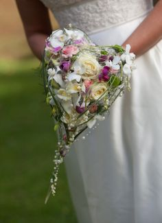heart shaped silk wedding bouquet