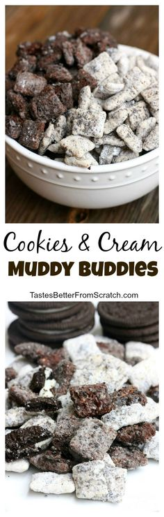 Cookies and Cream Muddy Buddies are a great dessert. This is an easy recipe.