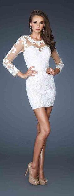 Embellished Short Lace Natural White Long Sleeves Prom Dresses Sale klkdresses11749vdrfw #shortpromdress #fashion