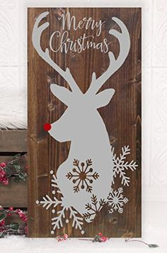 """Christmas Reindeer Vinyl Wood Sign 12""""x24"""". HD Vinyl Designs"""