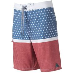 Men's Trinity Collective Modern-Fit Stars & Stripes Cargo Board Shorts ($20) ❤ liked on Polyvore featuring men's fashion, men's clothing, men's swimwear, blue, mens clothing, mens board shorts swimwear, mens boardshorts, mens swimwear and mens apparel