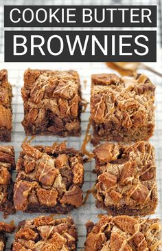 My biscoff brownies recipe is super easy and uses lotus cookie butter and chocolate chips. A must for lovers of speculoos style cookie butter and fudgy brownies, these will be a hit with adults and kids alike! #chefnotrequired #brownies #biscoff