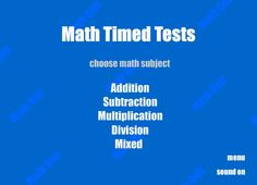 Play Math Timed Tests Now! Practice math the fun way, on your mobile phone or tablet like iPad, iPhone, or Android. Multiplication And Division, Addition And Subtraction, Math Classroom, Education, Ideas, Math Test, Fishing Line, Addition And Subtraction Practice, Learning