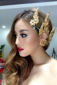 Pearypie with traditional Thai ear cuff/hairpiece.