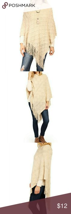 Batwing Soft Cape Poncho Brand New. Fringe trim batwing poncho. Material: Acrylic Sweaters Shrugs & Ponchos