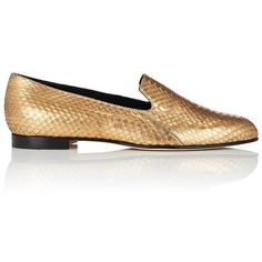 Manolo Blahnik Women's Diplas Metallic Snakeskin Loafers ($785) ❤ liked on Polyvore featuring shoes, loafers, gold, metallic loafers, flat slip on shoes, slip on shoes, flat pumps and metallic flat shoes