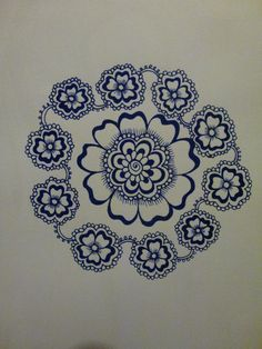 When I drew this I imagined a flower wreathe. Used blue felt tip pen. Size A5