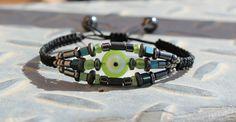 Hematite macrame bracelet.Gemstone bracelet.Evil eye protection bracelet.Boho macrame bracelet. by Votsaloartstudio on Etsy