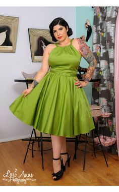 Pinup Couture - Harley Dress in Olive Sateen - Plus Size   Pinup Girl Clothing