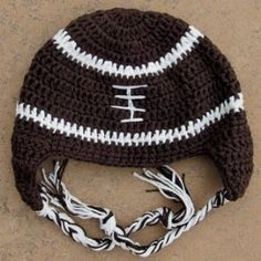 Crochet Hat for Baby, Toddler, Kid - Boy or Girl - Football - Medium (12 Mo - 2T)