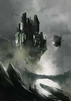 Flying Castle by sketchboook. #steampunk #victorian #Art #gosstudio .★ We recommend Gift Shop: http://www.zazzle.com/vintagestylestudio ★