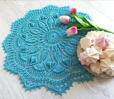 Gorgeous, intricate, textured, 3D doily. It makes a perfect voluminous centrepiece for your cozy home. The beautiful blue-sky coloured doily in the pictures is ready to be shipped to its new home. But there are 15 other amazing colours to choose from. Your doily can be made just for you in your Plate Mat, Vintage Centerpieces, Lace Table, Crochet Doilies, Etsy App, Cozy House, Vintage Lace, Delicate, Purple