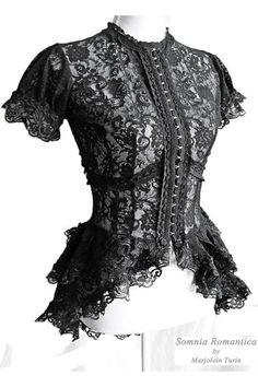 Somnia Romantica (Link: http://gothic.org/street-wear/custom/somnia-romantica/) It can be hard to find the perfect lace top to go with your romantic Gothic looks and to pair with a nice corset. Somnia Romantica by Marjolein Turin over on Etsy has taken care of that problem by creating a  beautiful blouse. The high necked black lace top is delicate and prim while at the same... - Gothic.org