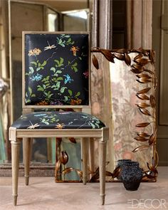 Van Day Truex side chair by Jonas, upholstered in Praying Mantis cotton chintz by Bob Collins & Sons from Todd Alexander Romano.