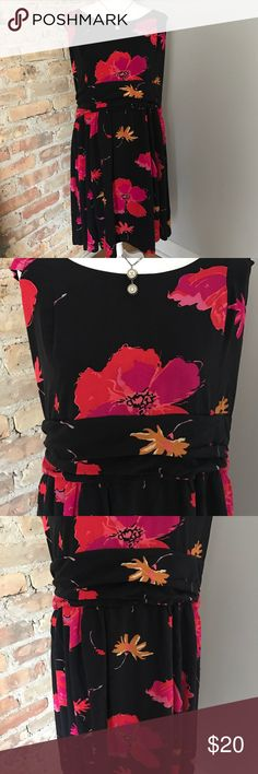 """BB Dakota ModCloth black floral dress size 22 BB Dakota from ModCloth dress. Black with floral design. Size 22.  Fit and flare. Cap sleeves. Worn once, washed twice. Bust measures 22"""" pit to pit, waist measures 19. No stretch to fabric. Lining is torn in back by the zipper. Can't see it when wearing. Easy fix, except my sewing skills are a bit rusty, so is dress is priced accordingly. Smoke free pet friendly home. BB Dakota Dresses"""