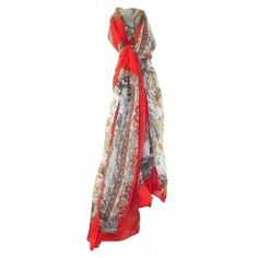 Over size red scarf leopard & jungle border