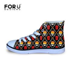 0414e5fd0b4 FORUDESIGNS High Quality Kids Shoes for Girls Shoes 3D Skull Print Child  Fabric Canvas Shoes Boys Children Sneakers Rubber Sole-in Athletic Shoes  from ...