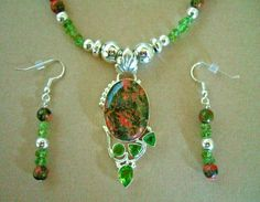 Birthstone Jewelry Pendant Necklace with Unikite Stone and Peridot Gemstone, Sterling Silver.  Matching Beaded Drop Earrings.