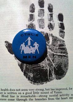 Comic Book Humor CTRLX Men Blue Pinback Button by prettyzombiegirl, $1.50