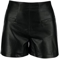 Kellie Pocket High Waisted Leather Look Shorts ($22) ❤ liked on Polyvore featuring shorts, high rise shorts, high-rise shorts, high-waisted shorts, highwaist shorts and pocket shorts