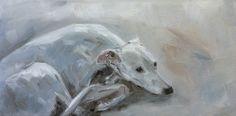 Whippet, oil on board, 15 x 30 cm, artist: Claudia Gaede