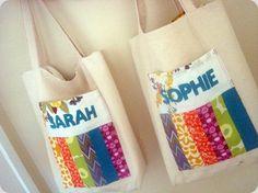 patchwork pocket tote bag