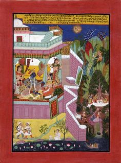 Vaisakh (April/May) - Bundi Style, Rajasthan School, 1675-1700 (circa) - One of a series of eight paintings bound in an album. The series are from a 'Baramasa' set or 'Songs of the seasons' providing visual imagery for Baramasa poetry. The main theme is that of nayakas' and nayikas' (lovers) love in union and in separation and their relationship with the months of the year. Braj Bhasha (Devanagari) Inscription Translation: The earth and sky are filled with fragrant breezes blowing gently…
