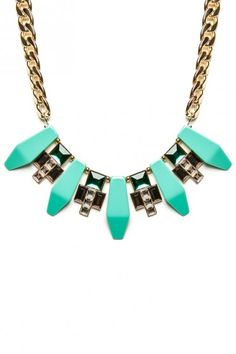 teal rhinestoned necklace.