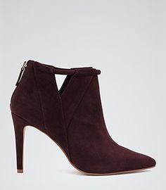 Nicola Bordeaux Point-toe Ankle Boots - REISS