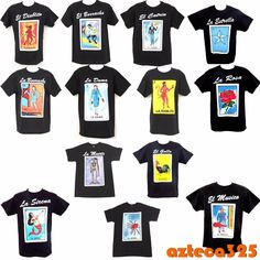 Mexican Loteria Unisex Black T-Shirt Funny Small to Mexican Candy Table, Mexican Party Decorations, Fiesta Theme Party, Party Themes, Party Ideas, Mexican Birthday Parties, 21 Birthday, Birthday Ideas, Loteria Shirts