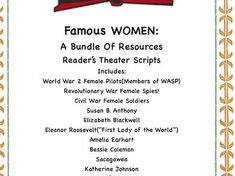 Reader's Theater Scripts Include: World War 2 Female Pilots(Members of WASP) Revolutionary War Female Spies! Civil War Female Soldiers S. Primary History, Teaching History, Women's History, Teaching Resources, Female Pilot, Female Soldier, Elizabeth Blackwell, Bessie Coleman, Katherine Johnson