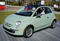 This color Fiat 500 commanded a lot of attention at the recent Pittsburgh auto show. The dash is the same color as the outside. When seen in person, this paint gives an impression of a Bakelite material instead of metal. Mint Green Fiat 500, My Dream Car, Dream Cars, Fiat 500c, Fiat Cars, Car Goals, Elements Of Style, Love Car, Cute Cars