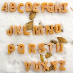 It's a natural, honey-scented moveable alphabet! Beeswax Moveable Alphabet, Full Alphabet of 26 Letters, $30.00