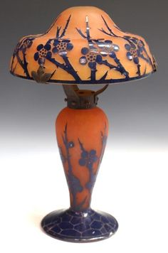 Charles Schneider LE VERRE FRANCAIS ART GLASS CAMEO TABLE LAMP. Deep blue flowering stems on an orange background.
