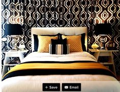 Stunning Modern Interior Chosen In Golden Accent Color: Contemporary Black White  Bedroom Decorating Idea With Little Accent Of Gold Applied .