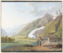 Représentation artistique de deux personnages proches d'une grange, en fond, un glacier descend jusque dans la vallée.