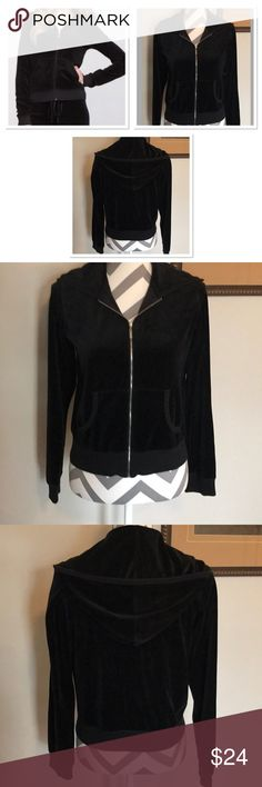 Black Velour Hooded Track Style Jacket Good used condition  Size medium  Bust 38 in. around  Length 21 in. Sleeves 24 in. long 73% cotton 27% polyester Moda International Jackets & Coats