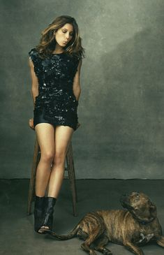 Jessica Biel...Cute photo with her pup! Love her hair/outfit