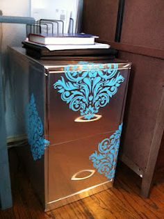 DIY Filing Cabinet w/ silver contact paper and decals. Or in white to go with house decor n teal, red or black decal