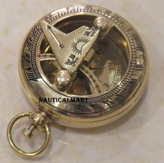 "NauticalMart 2"" Brass Puse Button - Pocket Compass: Amazon.co.uk: Office Products"