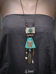 Statement Tribal Necklace Rustic Long Necklace ethnic Boho Necklace Gift for Her. Statement Tribal Necklace Rustic Long Necklace ethnic Boho Necklace Gift for Her Rustic Tribal Pend Tribal Necklace, Love Necklace, Fashion Necklace, Tribal Jewelry, Jewelry Art, Ceramic Jewelry, Polymer Clay Jewelry, Colar Boho, Collar Tribal