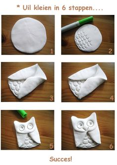 * Uil kleien in 6 stappen... Clay Crafts For Kids, Cute Crafts, Diy For Kids, Diy And Crafts, Clay Projects, Projects For Kids, Owl Preschool, Slab Ceramics, Ceramics Ideas