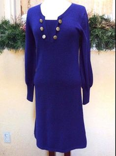 Womens 4 Regular Sweater Dress Blue Cashmere Wool Blend LS Buttons Layer Look #PureCollection #StretchBodycon #WeartoWorkDressyCasual